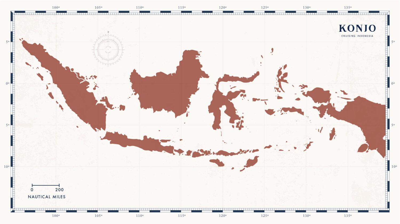 Carte de l'Indonésie avec Konjo Cruising Indonesia